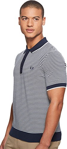 Fred Perry  Men's Fine Stripe Knitted Shirt Deep Carbon X-Large by Fred Perry (Image #1)