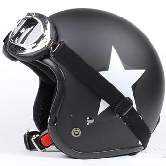 GZM - Casco Jet para moto homologado tipo Bandit, color negro mate con estrella blanca