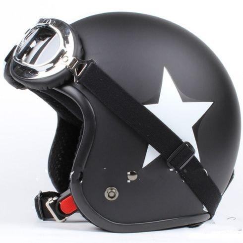 GZM - Casco Jet para moto homologado tipo Bandit, color negro mate con estrella blanca + Gafas M negro: Amazon.es: Juguetes y juegos