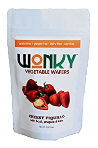 Wonky Cheesy Piquillo Vegetable Wafer - Case of 8 - 1.5 ounce bags