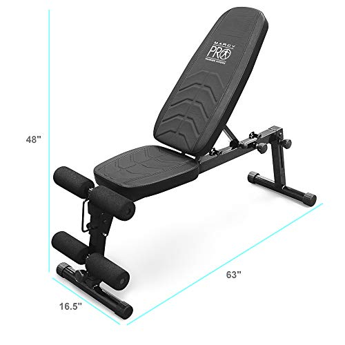 Marcy Pro Adjustable Exercise Weightlifting Workout Utility Weight Bench with Leg Developer and Foam Roller Pads PM-10110