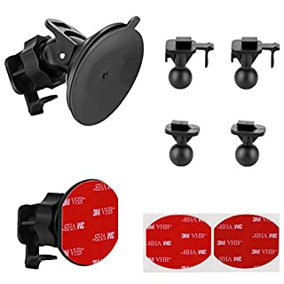 Suction Cup Mount for YI Dash Cam, Glue Adhesive Mount Compatible with Yi Dash Camera, with 2 Different Pivot Swivel Points(2 Pack), 2 Wipes(Dry and Wet), 2 Glue Double Sided Adhesive Tapes