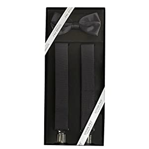 Luther Pike Mens Formal Dress Tuxedo Bow Tie & Suspenders Gift Box
