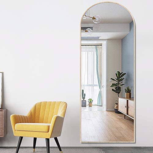 PexFix Full Length Mirror, 65 x22 Modern Arch-Crowned Floor Mirror Bedroom Dressing Mirror Arched Wall Mirror Standing, Leaning Hanging Burlywood