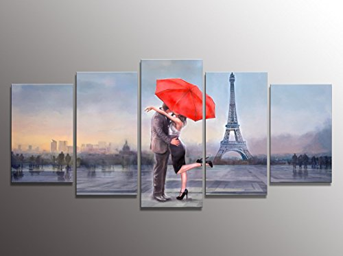 Valentines-Gift-Honest-Canvas-Prints-Love-in-Paris-5-Panels-Huge-Size-Oil-Painting-Print-Wall-Decor-Art-Stretched-and-Framed-Ready-to-Hang-for-Home-Decoration-P5LA005