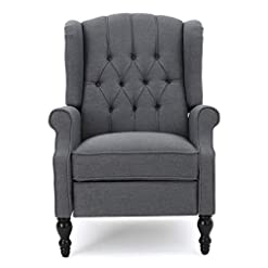 Farmhouse Accent Chairs GDF Studio Elizabeth Tufted Charcoal Fabric Recliner Arm Chair farmhouse accent chairs