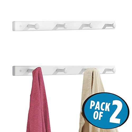mDesign Wall Mounted Entryway Hallway Shaker Storage Organizer Wood Racks for Jackets, Coats, Hats, Scarves - Pack of 2, 4 Pegs each, White by mDesign
