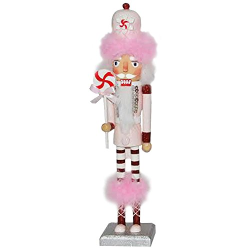 Christmas Nutcracker Figure The Candyman Collection Fun Bright Pink Feather and Rhinestone Details 14 Inch