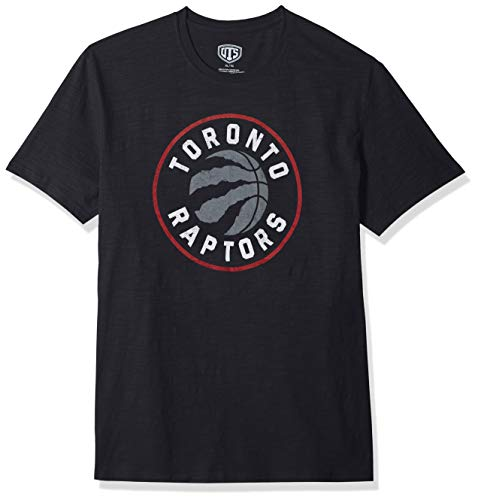 (NBA Toronto Raptors Male OTS Slub Distressed Tee, Jet Black, Large)
