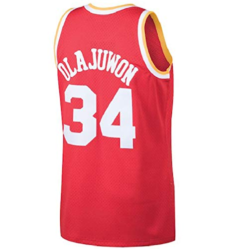 c4836f391 Olajuwon Jersey Men s 34 Jersey Hakeem Basketball Jerseys Red (XL)