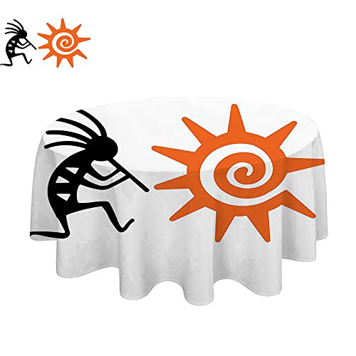 100% Polyester, Everyday Kitchen Tablecloth for Summer & Outdoor Picnics-60Inch-Kokopelli Kokopelli and Sun Spirit of Music Childbirth and Agriculture Native Cultural Art Orange Black. -