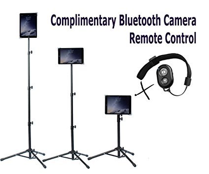 Universal Floor IPad and Tablet Tripod Stand Mount +COMPLIMENTARY BLUETOOTH SHUTTER REMOTE. Fits iPad mini, iPad Air, Samsung Galaxy, Dell, Sony, Microsoft Surface, Google Nexus CARRYING CASE INCLUDED]()