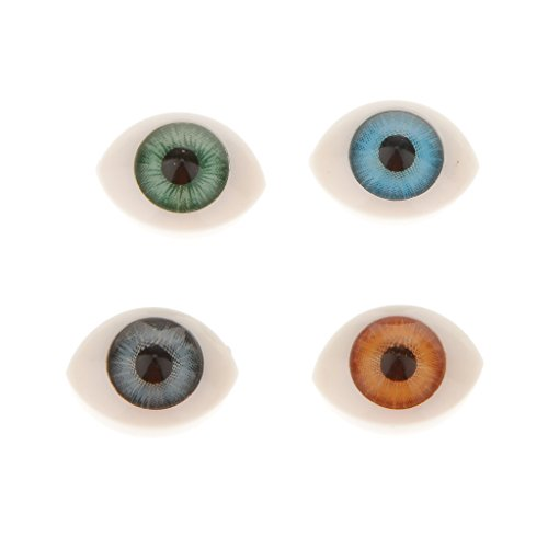 Fityle 8PCS Plastic Oval Fake Eyes Eyeballs DIY Mask Doll Bear Toy Making 8mm Iris