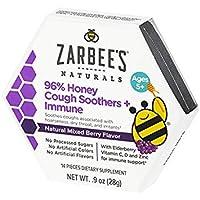 Zarbee's Naturals 96% Honey Cough Soothers + Immune with Elderberry, Vitamin C,...