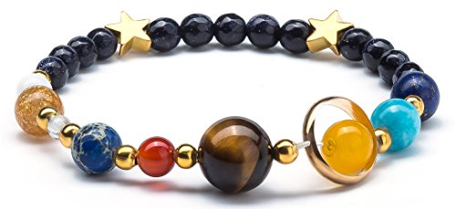 (Fesciory Women Solar System Bracelet Universe Galaxy The Eight Planets Guardian Star Natural Stone Beads Bracelet Bangle for Men(Blue)