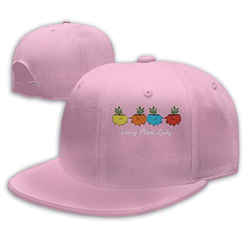 - Crazy Plant Lady Pig Planter Baseball Cap Flat Hat Unisex Snapback Cap Pink