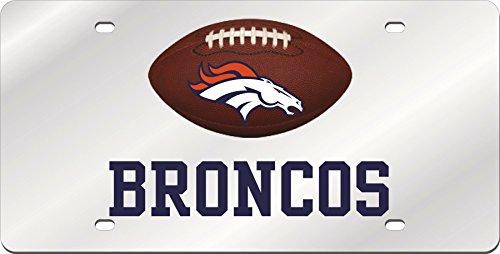 Denver Broncos FOOTBALL Deluxe Silver Laser Cut Acrylic Inlaid License Plate (Denver Broncos Silver Laser)