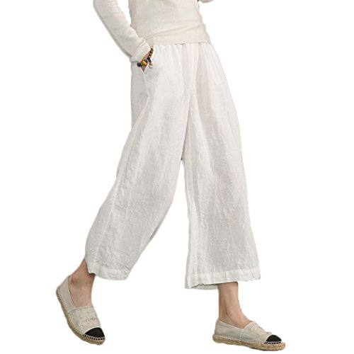Ecupper Womens Casual Loose Plus Size Elastic Waist Cotton Trouser Cropped Wide Leg Pants White 18 (Plus Size Linen Cropped Pants)