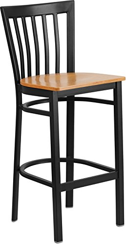 (Emma + Oliver Black Metal School House Back Barstool, Natural Wood Seat)
