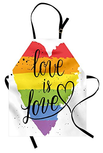 Ambesonne Pride Apron, LGBT Gay Lesbian Parade Love is Love Hand Writing Paint Strokes, Unisex Kitchen Bib with Adjustable Neck for Cooking Gardening, Adult Size, Red Black