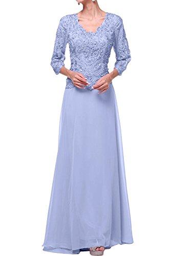 V Bodenlang Brautmutterkleider Lilac Promkleider Abendkleider Langarm La mia Damen Braut Ausschnitt Weiss axIqp7