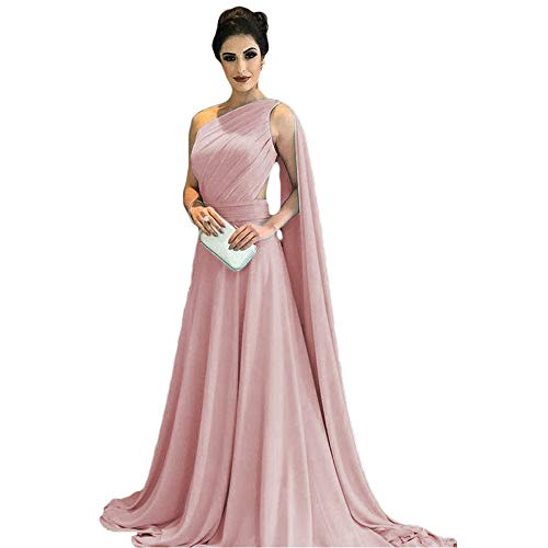 0204a223fe ... One Shoulder Chiffon Prom Evening Dresses Long Bridesmaid Formal Gowns  with Sash Dusty Pink US 20W.   