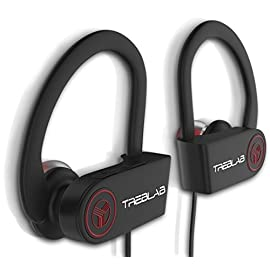 TREBLAB XR100 Sports Bluetooth Earbuds, Secure-Fit, Sweatproof, Noise Cancelling, Best for Running Gym Workout, True HD Beats Headphones, Top Stereo Headset w/Microphone Mic for iPhone Android Ipad 1 TRUE HIGH-DEFINITION SOUND - Featuring latest Bluetooth 4.1 CSR technology and apt-X support. Enjoy liquid treble and solid bass...without snaking wires! SECURE COMFORT FIT - Soft rubber finish and silicone earbuds that you can tirelessly wear all day. Secure hooks will ensure your headphones stay in place during any sport or gym exercise. SWEAT-PROOF - Train at maximum capacity without worrying about drowning your buds. LONGEST PLAY TIME - Enjoy music for up to 9 HOURS, while full charge takes only 2 hours. Talk on the phone or listen to music as long as you want and never run out of battery again!