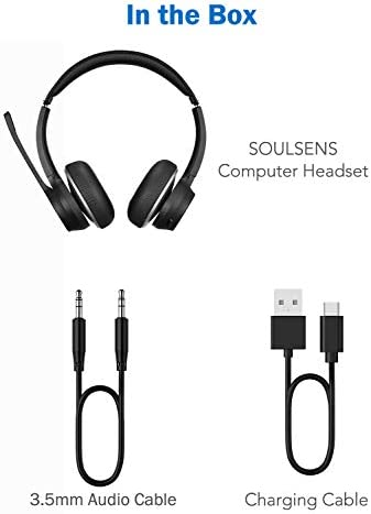 Soulsens Computer Headset with Microphone, CVC 8.0 Wireless Headphones with Noise Canceling Mic for Home Office, Comfort Fit Business Headset for PC, Cell Phone, Office, Skype, 22H Talk Time