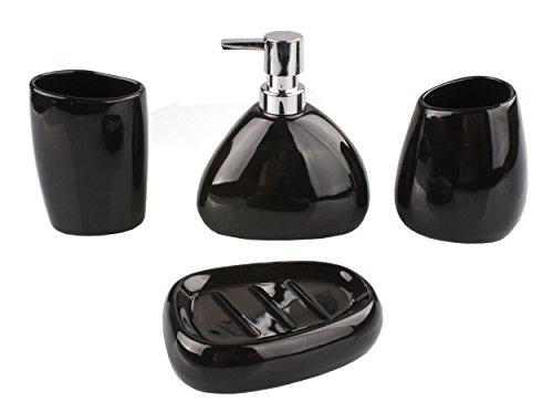4-piece Modern Black Ceramic Bathroom Accessory Set, 2 Tumblers/1 Soap Dispenser/1 Soap Dish Included, Toiletries Organizer, Stylish Sleek Decoration, Shiny Smooth Black (Triangle Soap Lotion)