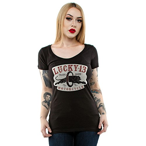 Lucky 13 Panther - Lucky 13 Women's Moto Panther Scoop Neck T-Shirt Black 2XL