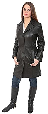 Ladies Fitted 3/4 Length Real Leather Jacket Womens Classic Mac ...
