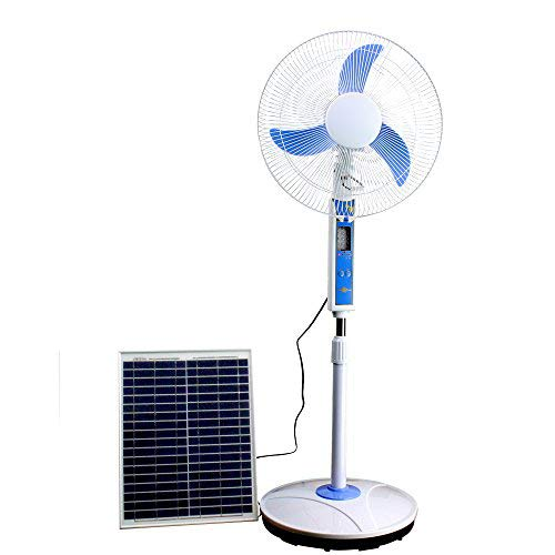 Cowin Solar Fan System - Solar Energy Fan (16'' Blade), LED Light, 15W Solar Panel, USB Port, Comes with Outlet Converter