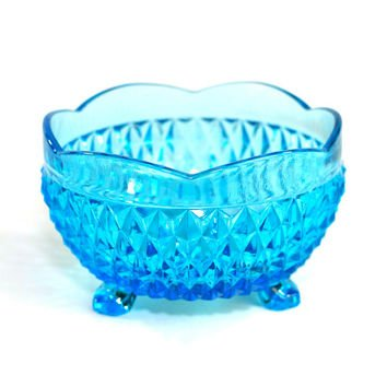Indiana Glass Diamond Point Footed Blue Scalloped Edge Bowl Candy Dish