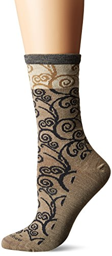 Sockwell/Goodhew Women's Heraldic Swirl Crew Socks, Khaki, Small/Medium
