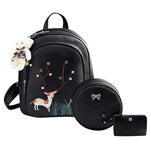 Black Backpack Set Bag Women Mini Deer Emboridery Shoulder Round 3Pcs x7qzFTUxw