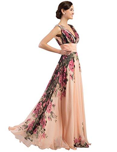 Grace Karin Mujer Elegante Estampado Floral Noche Vestido De Largo SqwAFSrH