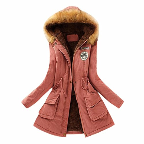 Collar Long Coat (AOJIAN Winter Women Warm Long Coat Fur Collar Hooded Parka Outwear (M, Pink))