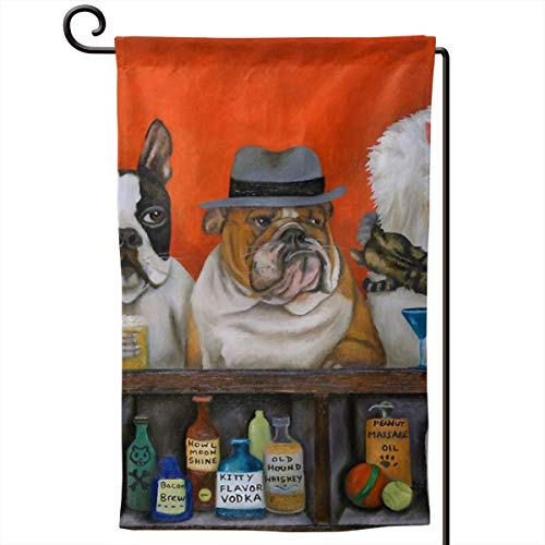 Private Bath Customiz Animal Club Beer Bacon Howl Cat Dog Garden Flags Yard Holiday Seasonal Garden Outdoor Decorative Flag Double Sided 12.5 X 18 -