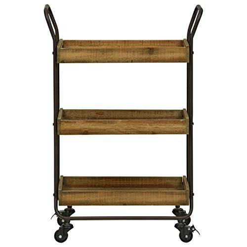 Stone Beam Rustic Serving Bar Cart with Wheels, 22.83 W, Black, Natural and Dark Metal