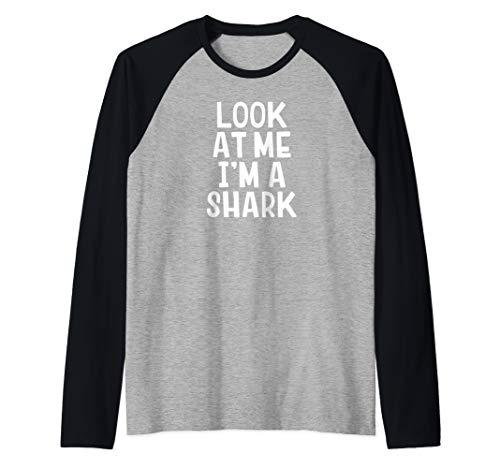 Look At Me I'm A Shark Funny Halloween Costume Raglan Baseball Tee ()