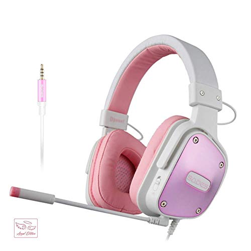[ANGEL EDITION]SADES PS4 Gaming Headset DPOWER Stereo Headsets for Xbox One Computer Mobile Dervice, Noise Cancelling Mic Over Ear Headphones, Soft Leather Ear muffs Earsets for Nintendo Switch Games ()