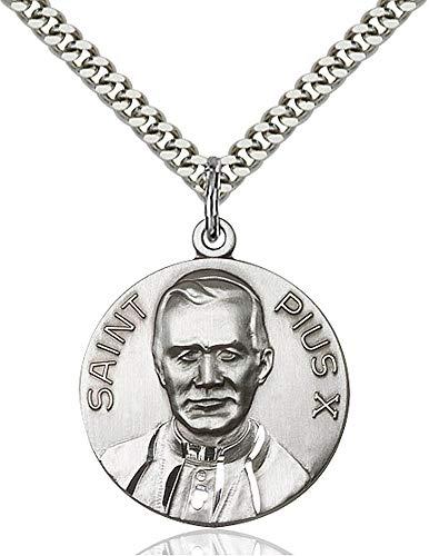 Sterling Silver Pope Pius X Pendant, Light Rhodium Heavy Curb Chain Patron Saint 1 x 7/8