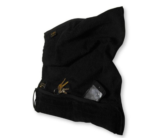 (SALE-Black Gym & Fitness Towel with Zipper Padded Pockets to Carry Things)
