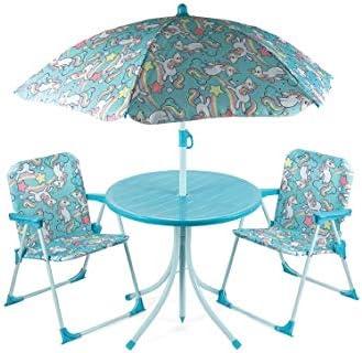 Galileo Casa - Juego de Mesa y 2 sillas con diseño de Unicornio, Color Azul: Amazon.es: Jardín
