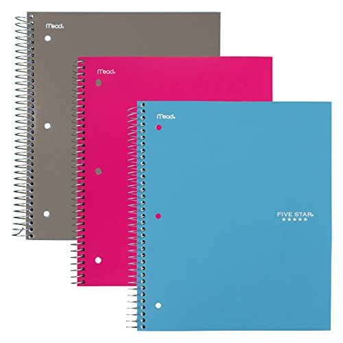 "Five Star Spiral Notebooks, 3 Subject, College Ruled Paper, 150 Sheets, 11"" x 8-1/2"", Gray, Teal, Bright Pink, 3 Pack (73481)"