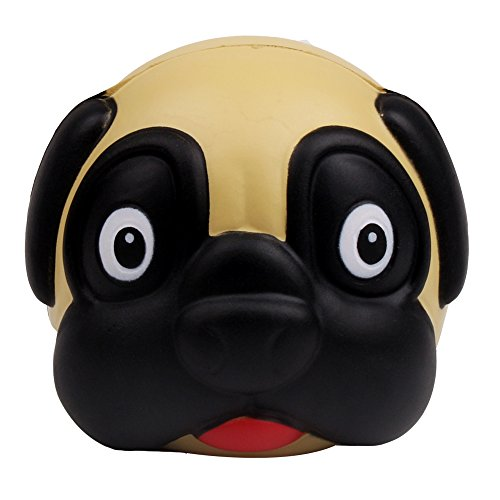AIKEMI Cute Pug Dog Animal Face Squeeze Stress Relife Ball Easter Toy Gift (Toy Dog Pug)
