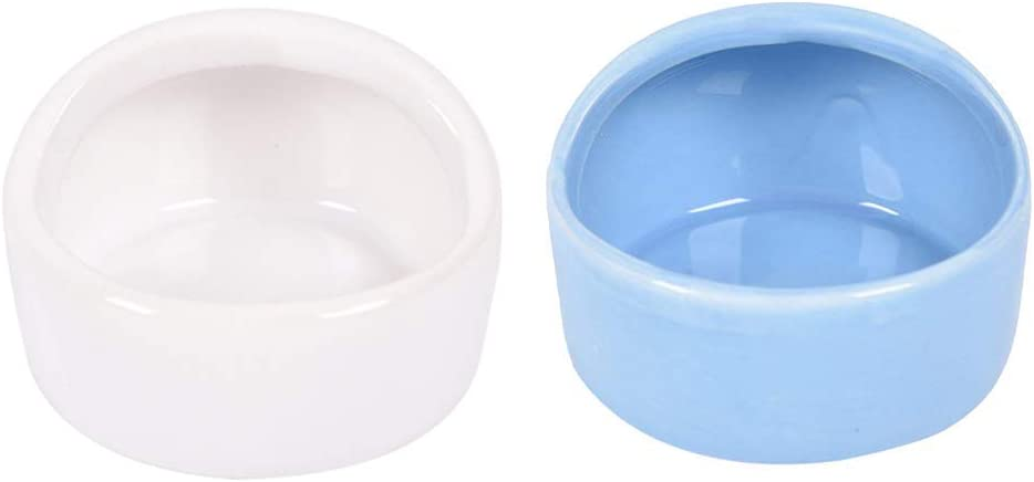 2 Pcs Gradient Side Hamster Ceramic Bowl,Cute Small Animal No Spill No Turnover Food Water Bowl Dish Holder for Guinea Pig Rodent Rat Gerbil Cavy Hedgehog Dwarf Feeder Feeding Basin Bowl,Pet Supplies