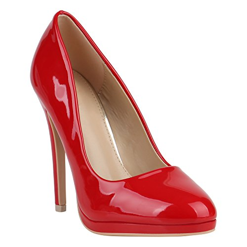 Stiefelparadies Damen Lack Pumps Stiletto High Heels Metallic Schuhe Party Abendschuhe Plateau Plateau Pumps Flandell Rot Lack