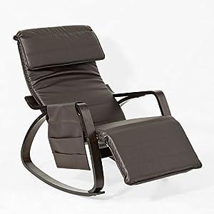 SoBuy® FST20-BR Fauteuil à bascule berçante relax avec pochette latérale amovible, Rocking Chair Bouleau Flexible