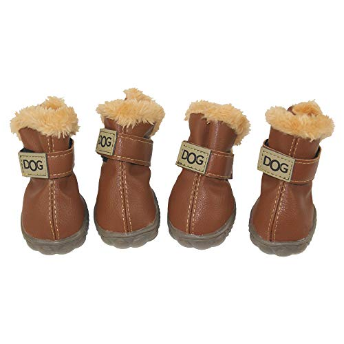 ZEKOO Dog Shoes Australia Boots Pet Antiskid Winter Warm Skidproof Grains Wear-Resisting Sneakers Paw Protectors (2, Coffee)